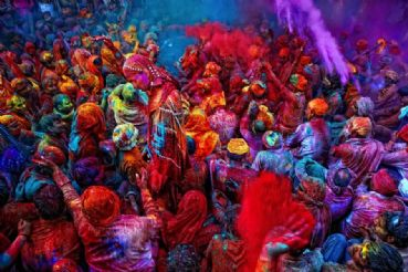 The Holi festival in India is the color festival to celebrate spring